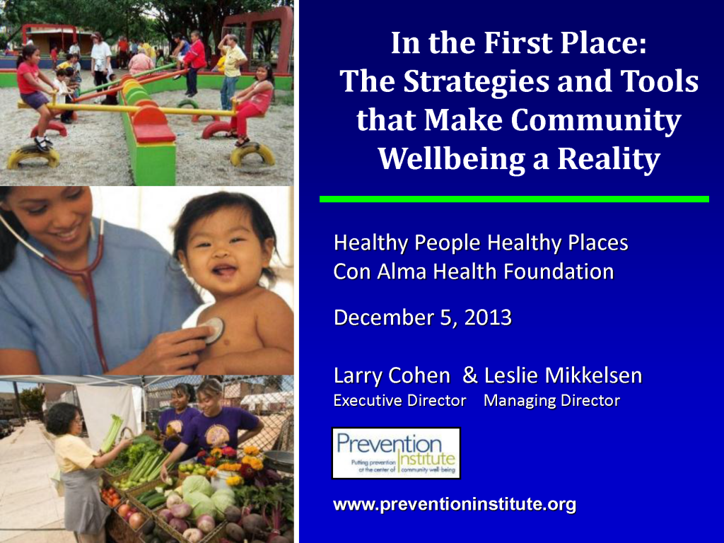 In the First Place: The Strategies and Tools That Make Community Wellbeing a Reality