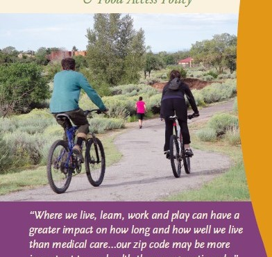 Image of the brochure cover showing bikers on a park path, with information about the project.
