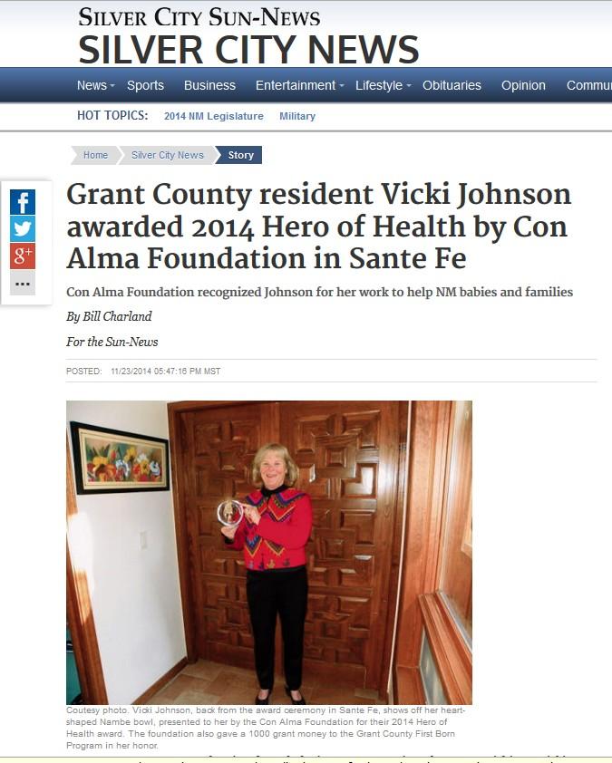 Press Coverage: 2014 Hero of Health Vicki Johnson